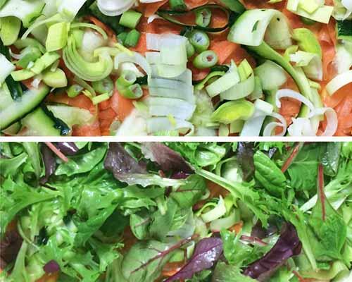 Vegane Pizza aus Blätterteig und Gemüseresten