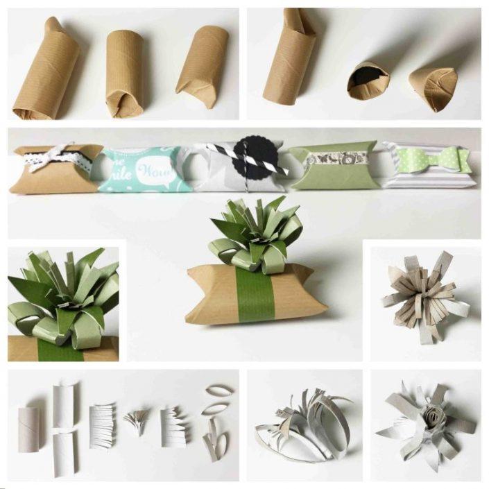 Mit Toilettenpapierrollen basteln - Geschenkverpackung
