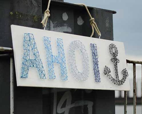 Maritimes Fadenbild AHOI | Anker