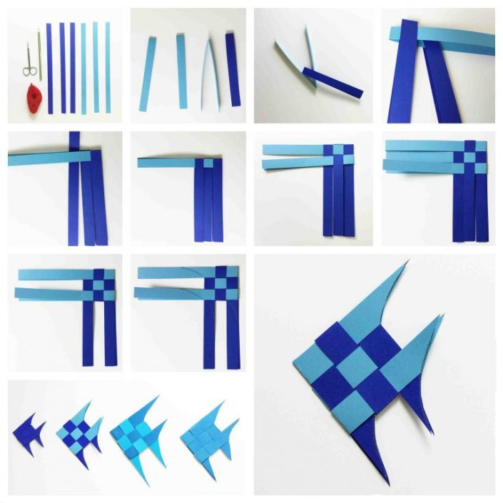 Origami Meerestiere Fisch Anleitung zum flechten