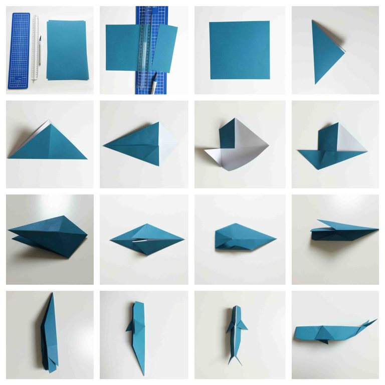 Origami Meerestiere Wal Anleitung zum falten