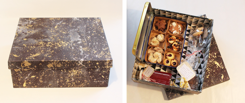 Eine Geschenkbox im geschlossenen und geöffneten Zustand